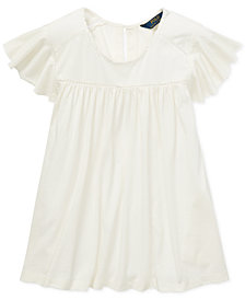 Polo Ralph Lauren Big Girls Inset-Lace Flutter-Sleeve Top