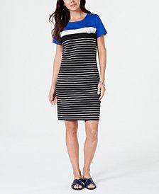 Karen Scott Petite Striped T-Shirt Dress, Created for Macy's