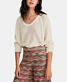 Free People Textured Cotton V-Neck Sweater