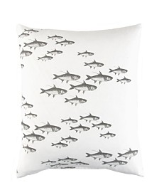 Caskata Cotton Canvas Lumbar Pillow With Feather and Down Insert, School Of Fish