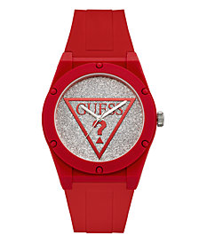 Guess Women's Red Silver Iconic Glitter Logo Watch 42MM, Created for Macy's