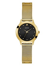 Guess Women's Gold Mesh Diamond Watch 25MM, Created for Macy's