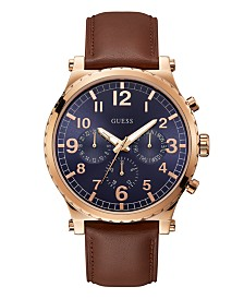 GuessMen's Honey Brown Leather Chronograph Watch  46MM