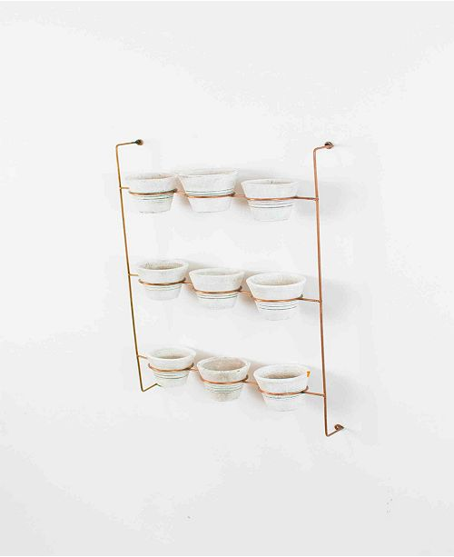 Kalalou White Wash Clay Pots On Copper Finish Wall Rack, Set of 9