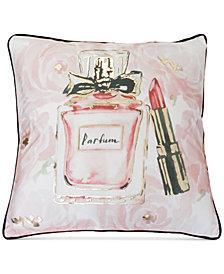 """THRO Odessa Perfume Lipstick Faux Velvet 20"""" x 20"""" Decorative Pillow"""