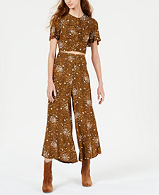 Free People Hazy Daze Printed Cropped Pant Set