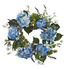 "Nearly Natural 24"" Hydrangea Blue Wreath"