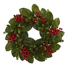 "24"" Magnolia Leaf, Berry & Pine Artificial Wreath"