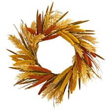 """Nearly Natural 25"""" Sorghum Harvest Artificial Wreath"""