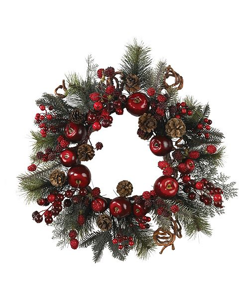 """Nearly Natural 22"""" Apple Berry Wreath"""