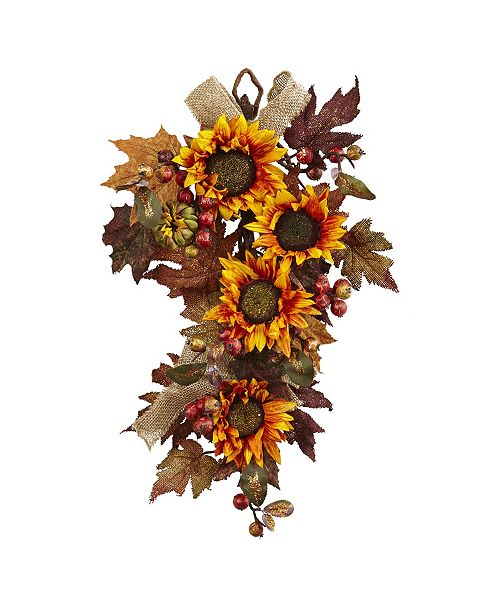 """Nearly Natural 24"""" Sunflower and Berry Teardrop"""