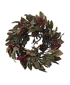 """24"""" Pinecone, Berry and Feather Wreath"""