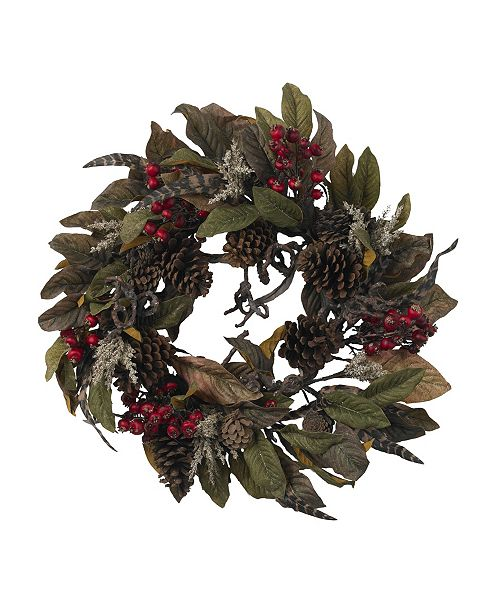 """Nearly Natural 24"""" Pinecone, Berry and Feather Wreath"""