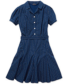 Polo Ralph Lauren Big Girls Printed Cotton Poplin Dress