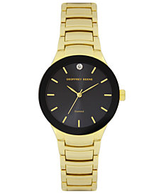 Geoffrey Beene Black Bezel and Dial Genuine Diamond Bracelet Watch
