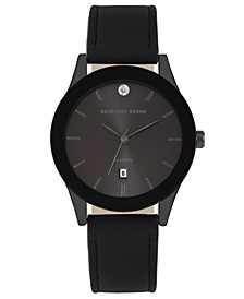 Black Dial Smooth Black Strap Genuine Diamond Watch