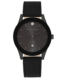 Geoffrey Beene Black Dial Smooth Black Strap Genuine Diamond Watch