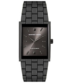 Rectangular Case Genuine Black Diamond Dial Bracelet Watch