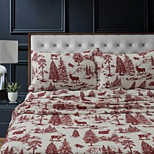 Mountain Toile Heavyweight Cotton Flannel Printed Extra Deep Pocket Queen Sheet Set