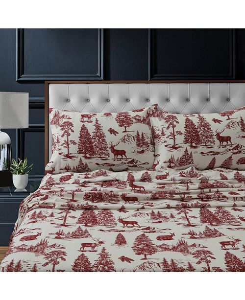 Tribeca Living Mountain Toile Heavyweight Cotton Flannel Printed Extra Deep Pocket Queen Sheet Set