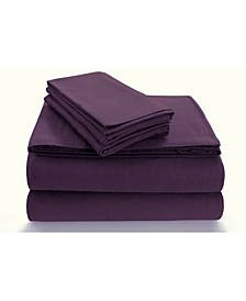 Flannel 170-GSM Cotton Solid Extra Deep Pocket Cal King Sheet Set