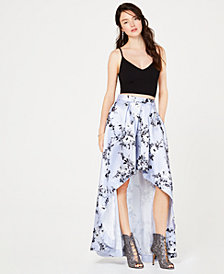 Speechless Juniors' 2-Pc. Solid Cropped Top & Floral Skirt, Created for Macy's