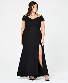 Plus Size Off-The-Shoulder Slit Gown