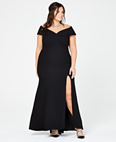 a40634180ddc8 Xscape Plus Size Off-The-Shoulder Slit Gown