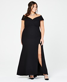 Xscape Plus Size Off-The-Shoulder Slit Gown