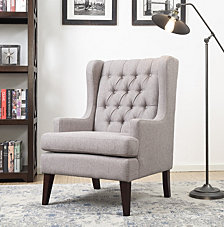 Maxine Button Tufted Wing Arm Chair, Quick Ship