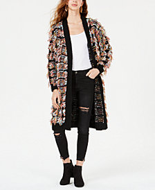 GUESS Fringe Open-Front Cardigan