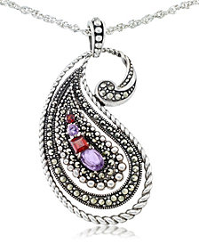 "Amethyst (5/8 ct. t.w.), Garnet (3/8 ct. t.w) & Marcasite Paisley Pendant on 18"" Chain in Sterling Silver"