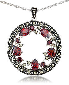 "Garnet (2-3/8 ct. t.w.) & Marcasite Pendant on 18"" Chain in Sterling Silver"