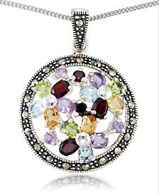 "Multi-Color Stones & Marcasite Pendant on 18"" Chain in Sterling Silver"