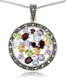 "Multi-Color Stones & Marcasite Pendant on 18"" Chain in Sterling Silver"
