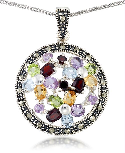 "Macy's Multi-Color Stones & Marcasite Pendant on 18"" Chain in Sterling Silver"