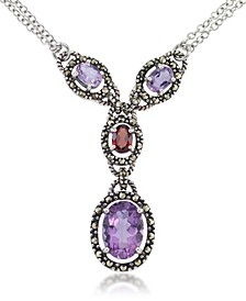 """Amethyst (5-1/2 ct. t.w.) & Garnet (1 ct. t.w.) Marcasite Lariat 16""""+2"""" Extender Necklace in Sterling Silver"""