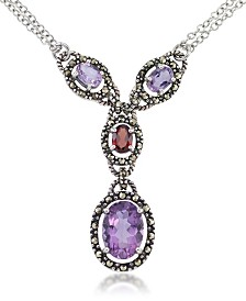 "Amethyst (5-1/2 ct. t.w.) & Garnet (1 ct. t.w.) Marcasite Lariat 16""+2"" Extender Necklace in Sterling Silver"
