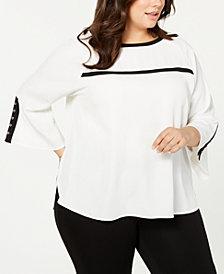 Calvin Klein Plus Size Bell-Sleeve Contrast-Trim Blouse