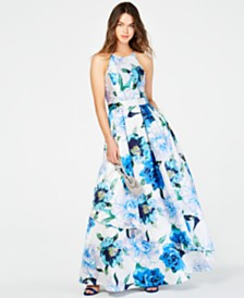 Speechless Juniors' Printed-Floral Halter Gown, Created for Macy's