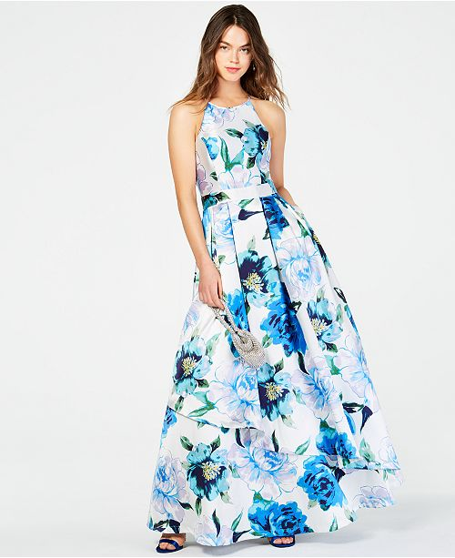 26644a508a ... Speechless Juniors' Printed-Floral Halter Gown, Created for Macy's ...