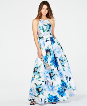 aad5d647a SPEECHLESS   Speechless Juniors' Printed-Floral Halter Gown, Created For  Macy'S   Goxip