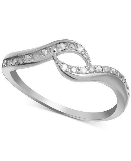Macy's Diamond Swirl Ring (1/10 ct. t.w.) in Sterling Silver