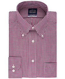 Eagle Men's Classic/Regular-Fit Non-Iron Burgundy Gingham Dress Shirt