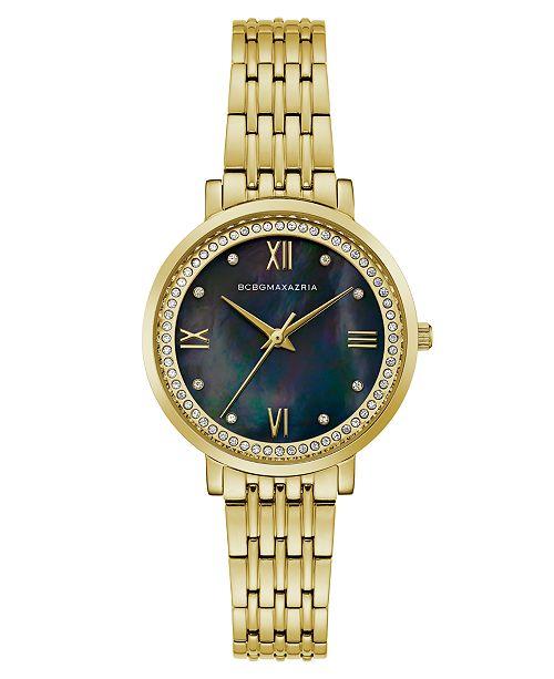 BCBGMAXAZRIA Ladies GoldTone Bracelet Watch with Dark MOP Dial, 33mm