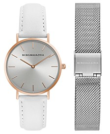 Ladies Watch Box Set with White Leather Strap and Silver Mesh Bracelet, 36mm