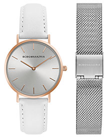 BCBG MaxAzria Ladies Watch Box Set with White Leather Strap and Silver Mesh Bracelet, 36MM