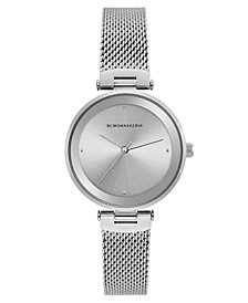 BCBG MaxAzria Ladies Silver Tone Mesh Bracelet Watch with Silver Dial, 33MM