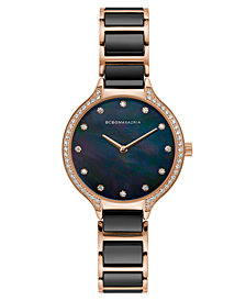 BCBG MaxAzria Ladies Rose GoldTone and Black Ceramic Bracelet Watch with Black Dial, 34MM