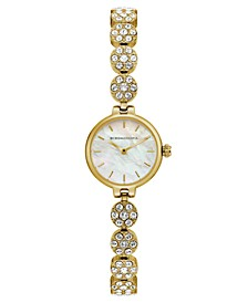 Ladies GoldTone Crystal Bracelet with MOP Dial, 22mm